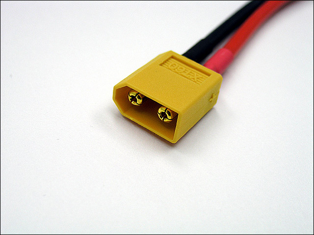 "XT60 Male connector w/14awg, 7.5"" leads"